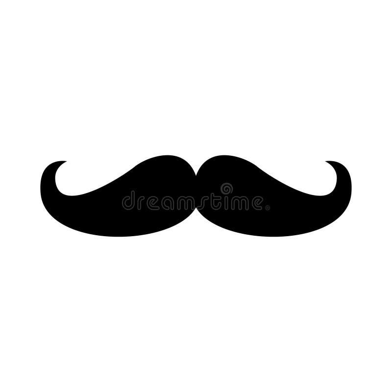 Silnego mężczyzny wąsy mieszkania stylu ikony znaka wektorowa ilustracja odizolowywająca na białym tle ilustracja wektor