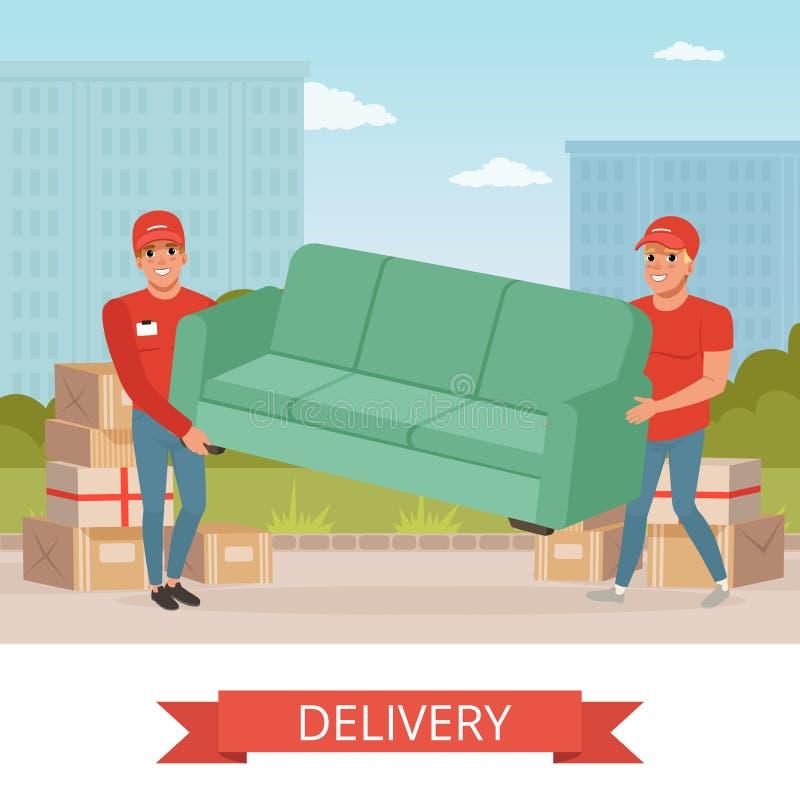 Silni faceci niesie kanapę Kreskówka kurierów charaktery Ekspresowa dostawa Przeniesienie i chodzenie usługa transport ilustracji