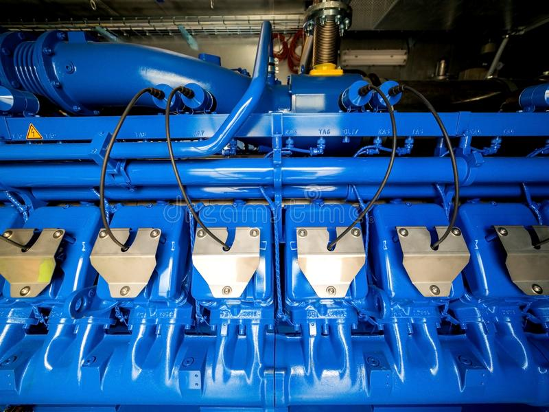 Silnik CHP jednostka Oleju napędowego i gazu przemysłowy elektryczny generator obraz royalty free