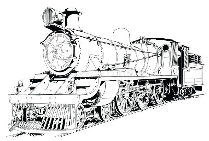 silnik napędzany pary pociąg ilustracji