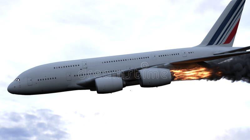 Silnik samolot łapał ogienia i oparzenie z uwolnieniem czerń dymią ?wiadczenia 3 d ilustracja wektor