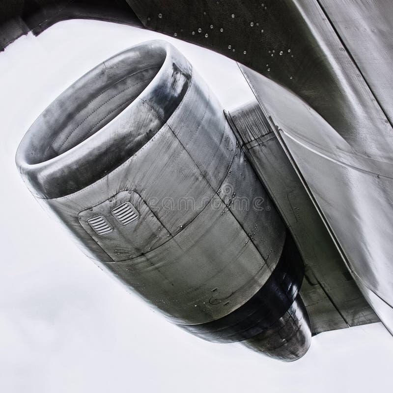 Silnik samolot na nieba tle obraz stock