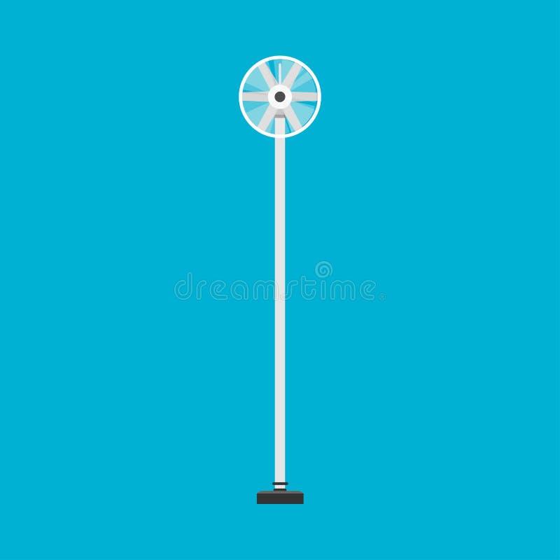 Silnik wiatrowy przemysłowej władzy energetyczna śmigłowa wektorowa ikona Wiatraczka bielu gospodarstwa rolnego ekologiczny alter royalty ilustracja