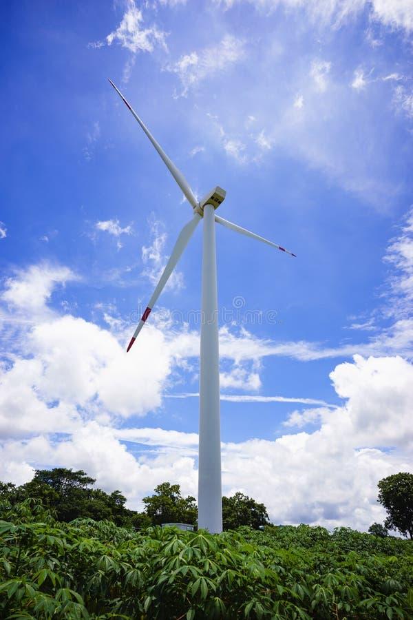 Silnik wiatrowy w kasawy polu, piękny nieba tło zdjęcie royalty free
