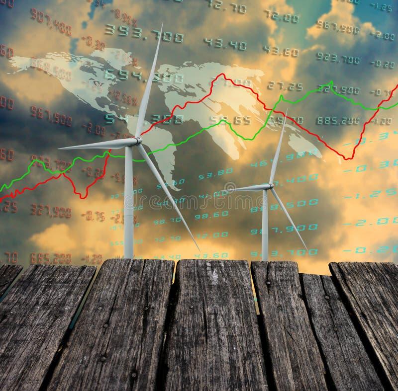 Silnik wiatrowy z wzrostowymi wykresami światowy ekonomiczny, czysta energia zdjęcie stock