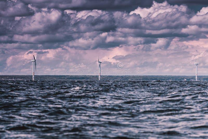 Silnika wiatrowego gospodarstwo rolne w morzu bałtyckim, Dani fotografia royalty free