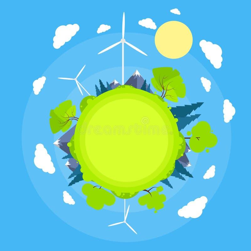 Silnika Wiatrowego niebieskiego nieba słońca Zielonej trawy Basztowa energia ilustracji