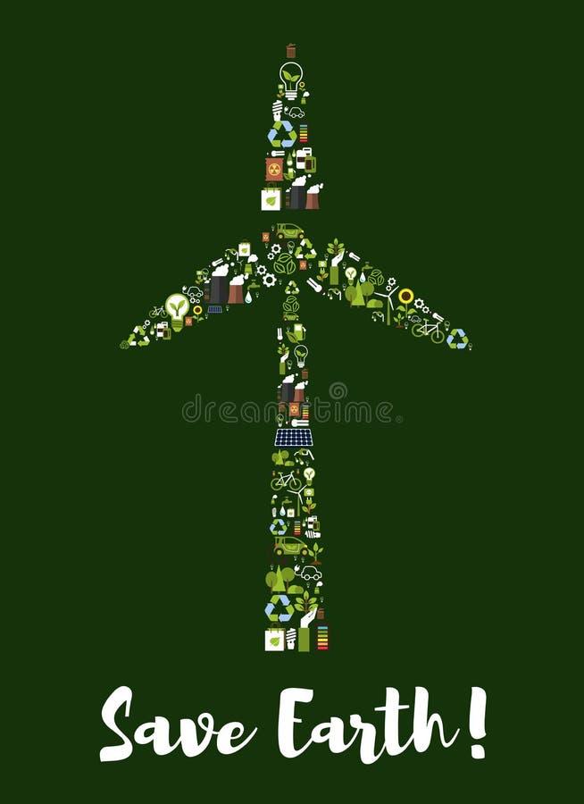 Silnika wiatrowego symbol robić up ekologii ikony ilustracja wektor