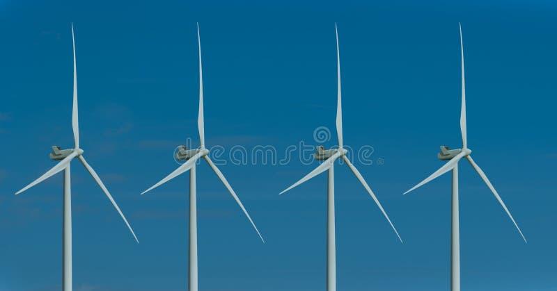 Silniki wiatrowi i ranku niebo z światłem słonecznym obraz royalty free