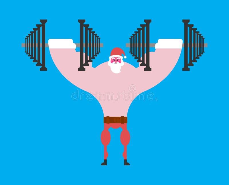 Silny Święty Mikołaj i dumbbells Bożenarodzeniowa sprawność fizyczna Dumbbell pr ilustracji