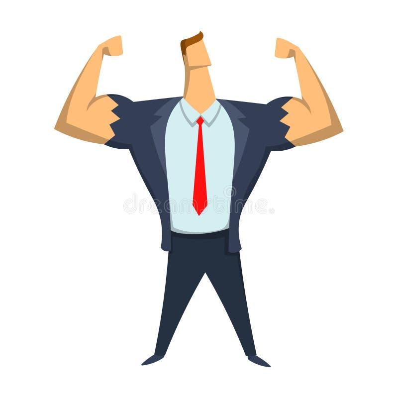 Silny biznesmen pokazuje bicepses Przywódctwo, dufność Pojęcie wektorowa ilustracja odizolowywająca na bielu ilustracja wektor