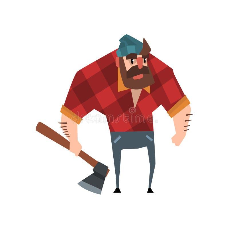Silny brodaty woodcutter charakter z cioską w jego ręce Rozochocony lumberjack mężczyzna jest ubranym czerwoną w kratkę koszula,  ilustracja wektor