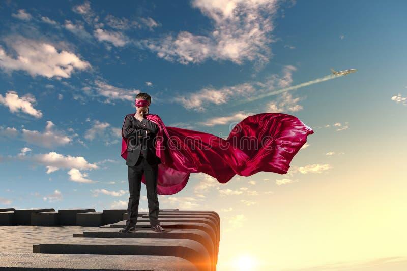 Silny i potężny jako super bohater Mieszani środki obrazy royalty free
