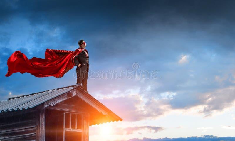 Silny i potężny jako super bohater Mieszani środki obraz stock