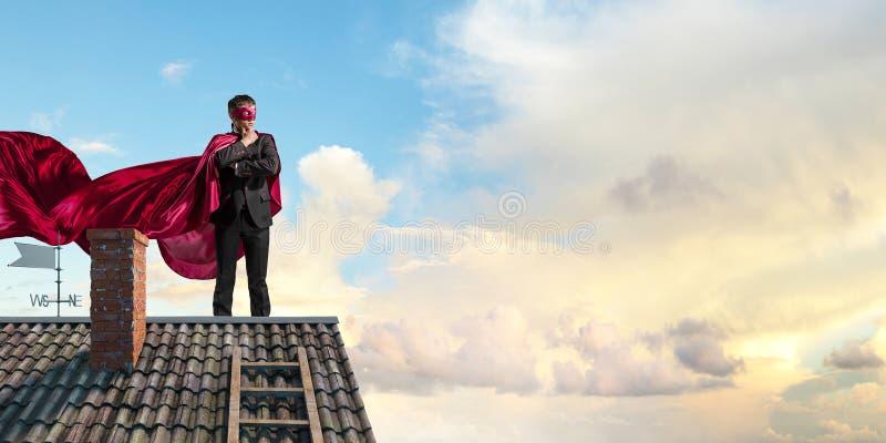 Silny i potężny jako super bohater Mieszani środki zdjęcie stock