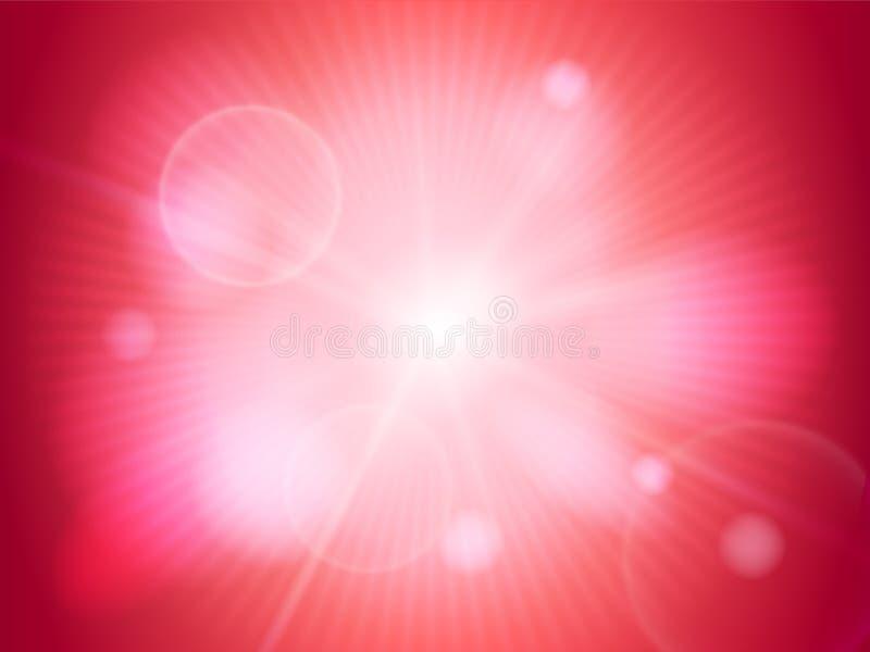 Silny jaskrawy sunbeam lub światło na czerwonym bokeh tle Abstrakcjonistyczna dekoracyjna tapeta dla projektów uses wektor royalty ilustracja