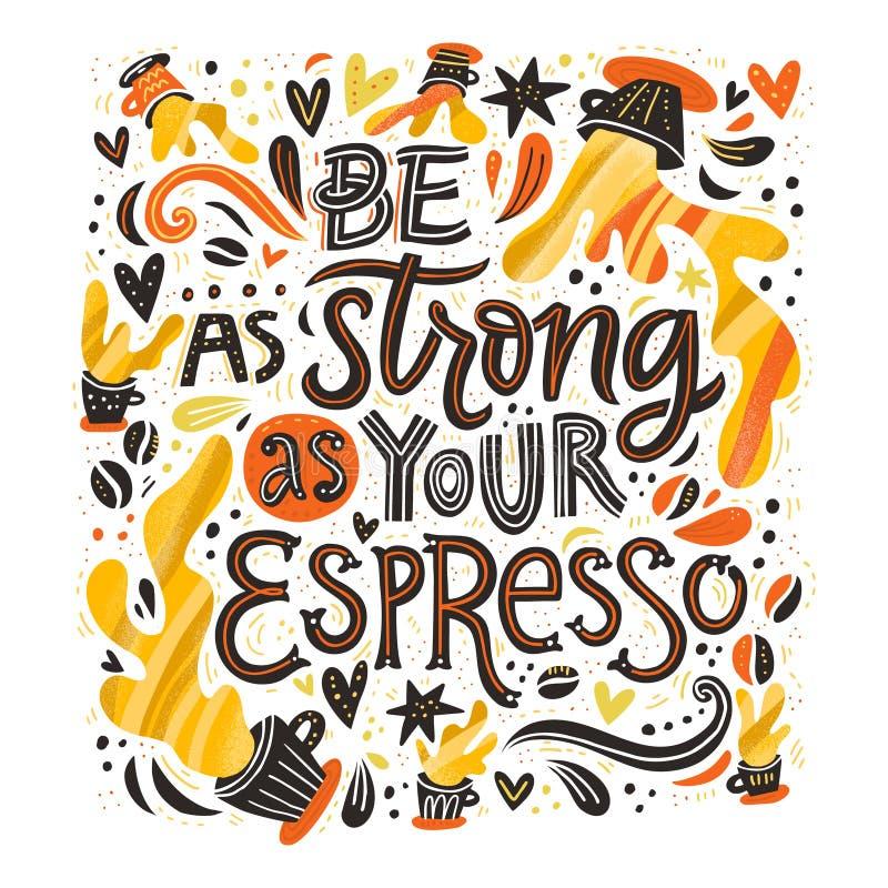 Silny kawy espresso literowanie ilustracji