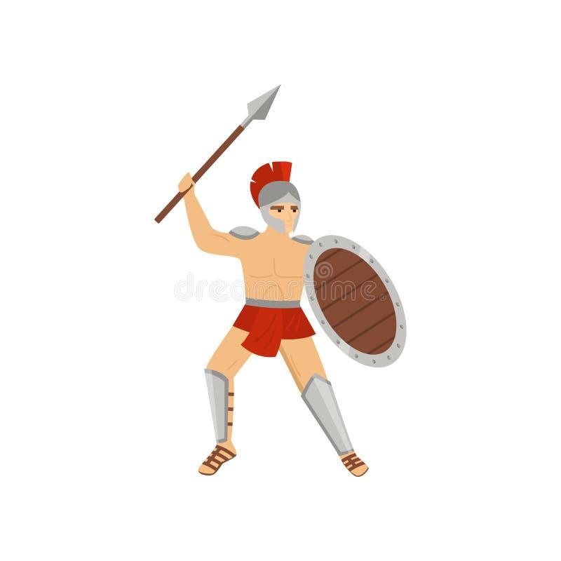 Silny legionista w czerwonym loincloth, stalowym hełmie i greave boju odizolowywającym na białym tle, ilustracja wektor