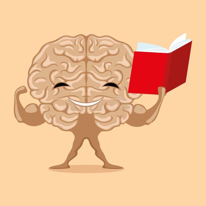 Silny mózg z książką ilustracji