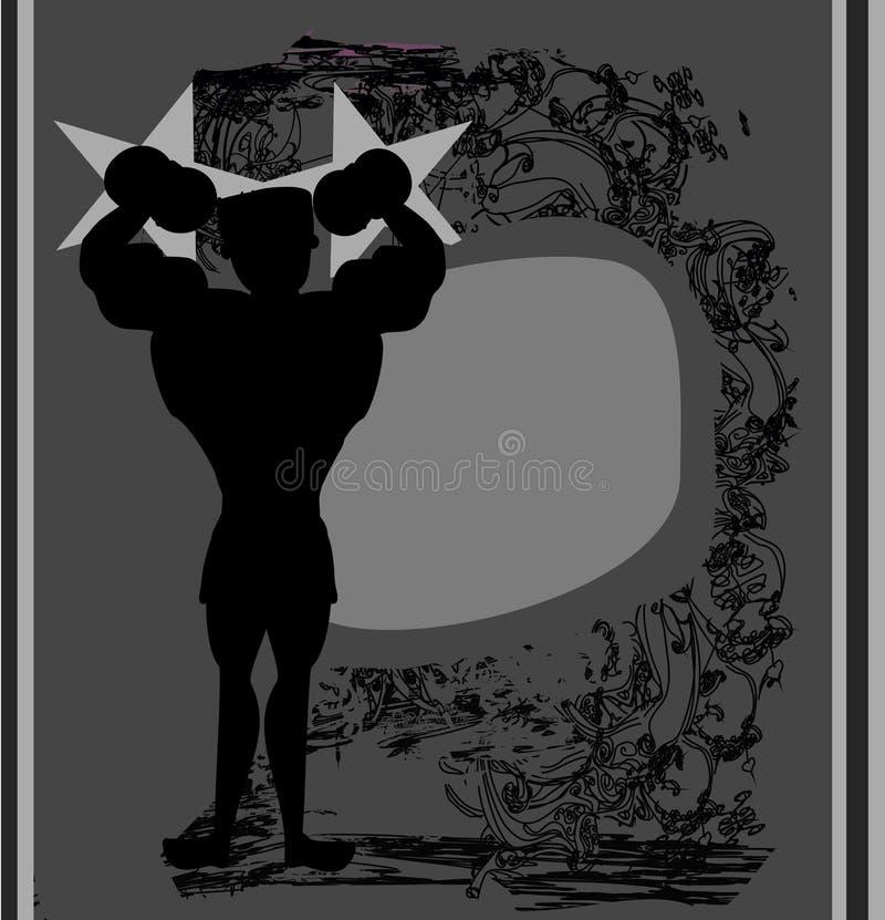 Silny mężczyzna - abstrakcjonistyczny grunge tło royalty ilustracja