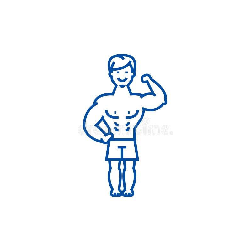 Silny mężczyzna, bodybuilder mięśnie wykłada ikony pojęcie Silny mężczyzna, bodybuilder mięśni płaski wektorowy symbol, znak, kon ilustracji