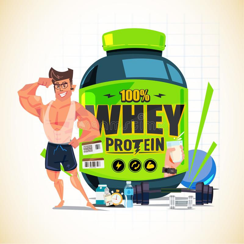 Silny mężczyzna pokazuje jego ręka mięsień przed Dużą serwatki proteiną c ilustracji