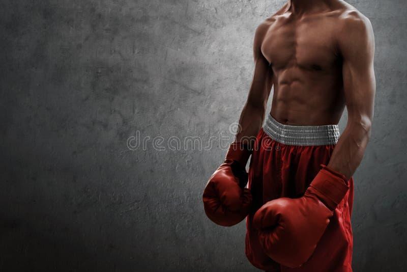 Silny mięśniowy bokser na ściennych tło zdjęcia stock
