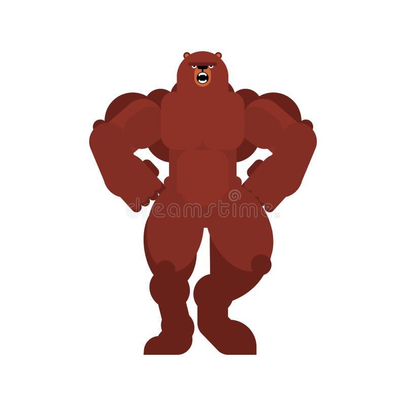 Silny nied?wied? Pot??ny grizzly Zwierz?cy bodybuilder ci??ka bestia royalty ilustracja
