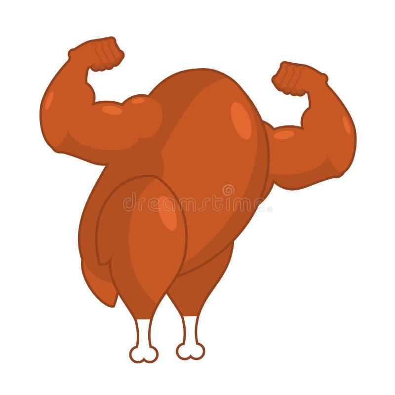 Silny piec indyk Potężny smażący ptactwo Mięśniowy bodybuilder royalty ilustracja