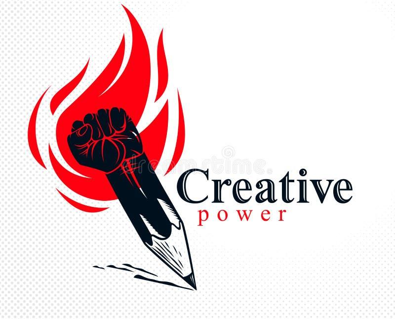 Silny projekta lub sztuki władzy pojęcie pokazywać jako ołówek z zaciskającą pięścią łączył w symbol z pożarniczym płomieniem, we ilustracja wektor