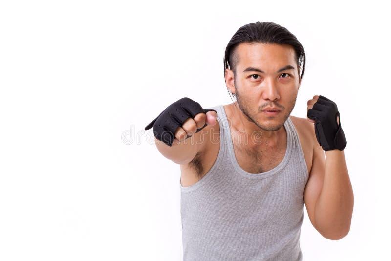 Silny sportowa uderzać pięścią zdjęcia royalty free