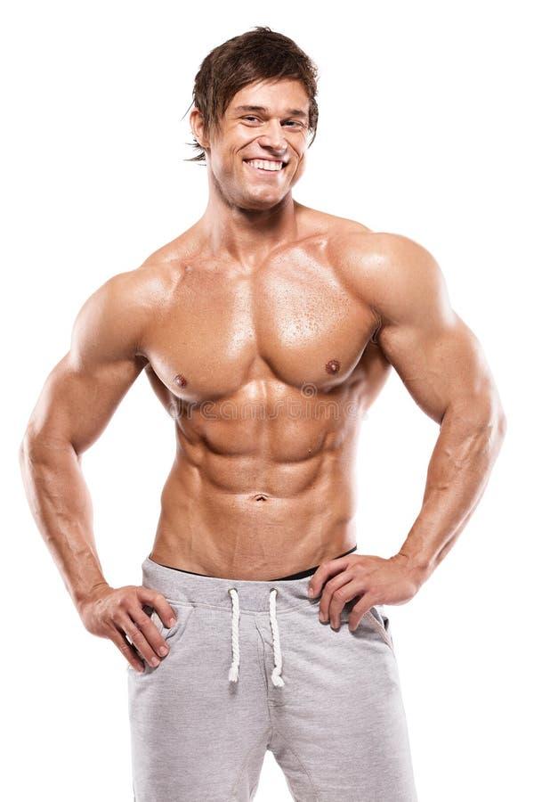 Silny Sportowy mężczyzna pokazuje mięśniowego ciało obrazy royalty free