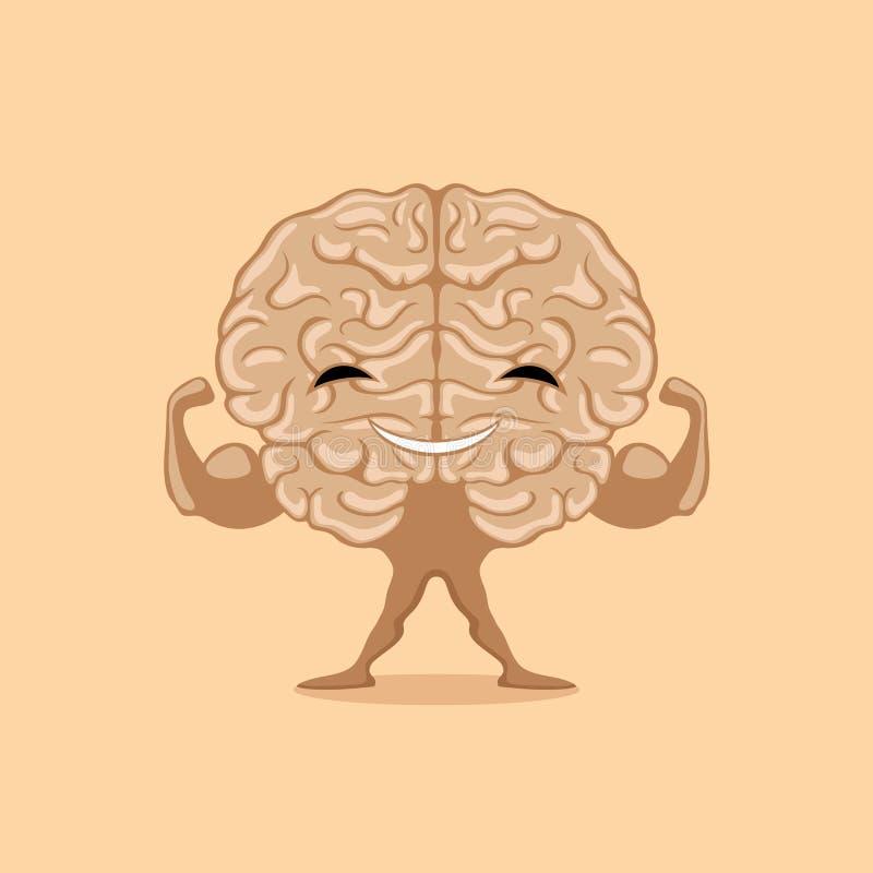 Silny szczęśliwy mózg ilustracji
