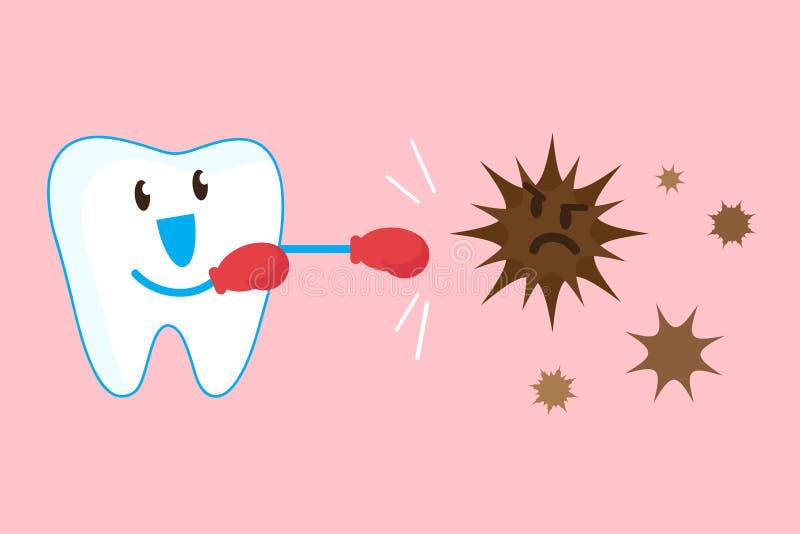 Silny ząb walczy daleko zarazki ilustracja wektor