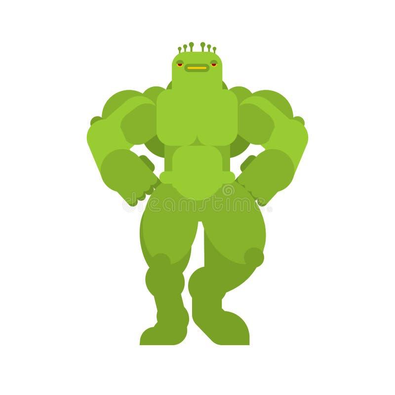 Silny zielony obcy Pot??ny potw?r Zwierz?cy bodybuilder ci??ka bestia ilustracja wektor