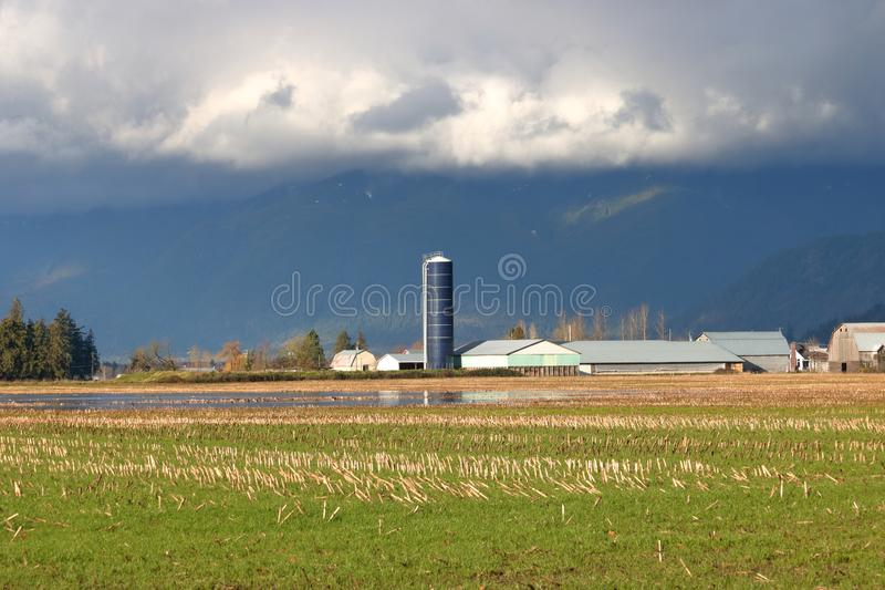 Silo and dark, ominous storm clouds. A tall, black silo stands like a weather vane as dark, ominous storm clouds pass overhead during the winter months royalty free stock photography