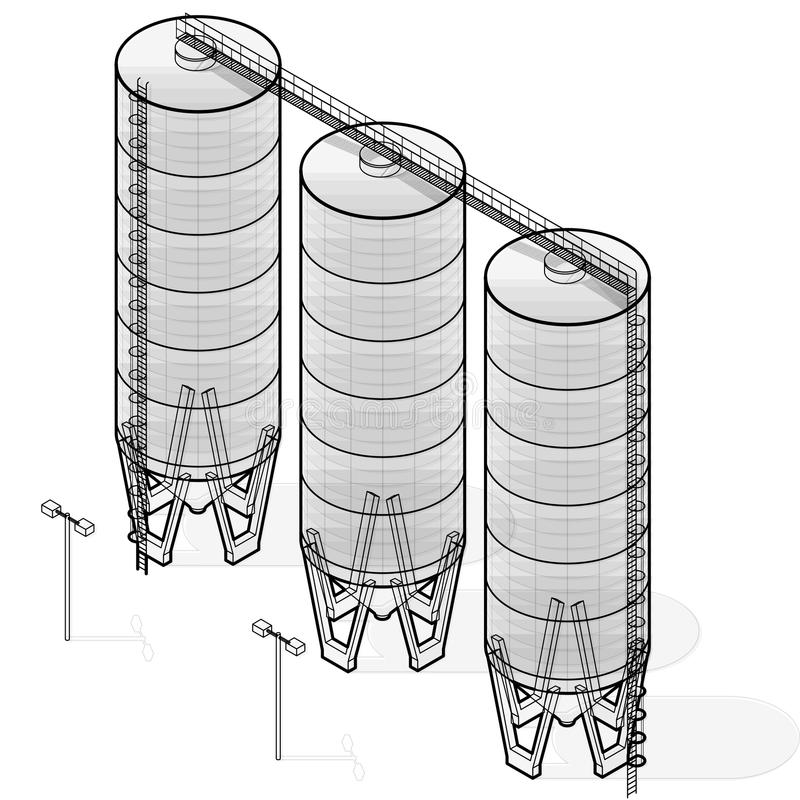 Silo de grain, construction isométrique de fil infographic sur le fond blanc illustration de vecteur