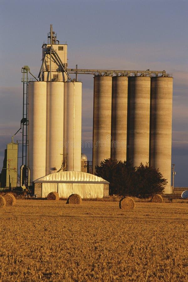 Silo de grano en granja foto de archivo