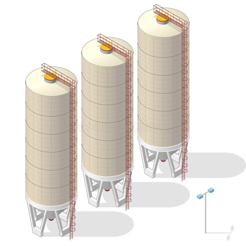 Silo de grano, gráfico ocre isométrico de la información del edificio en el fondo blanco stock de ilustración