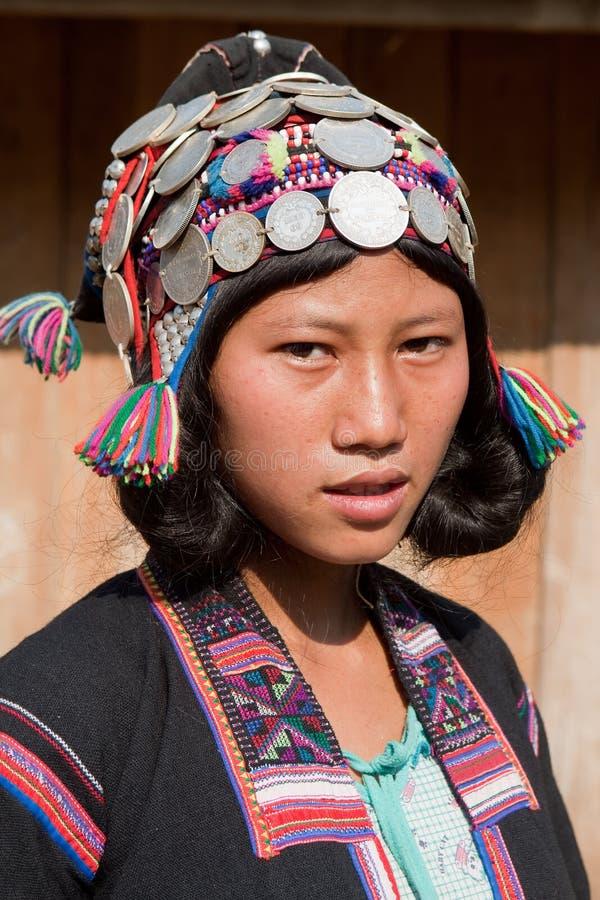 Silo do grupo étnico do retrato em Laos foto de stock