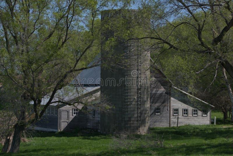 Silo e celeiro de madeira no início da primavera fotos de stock royalty free