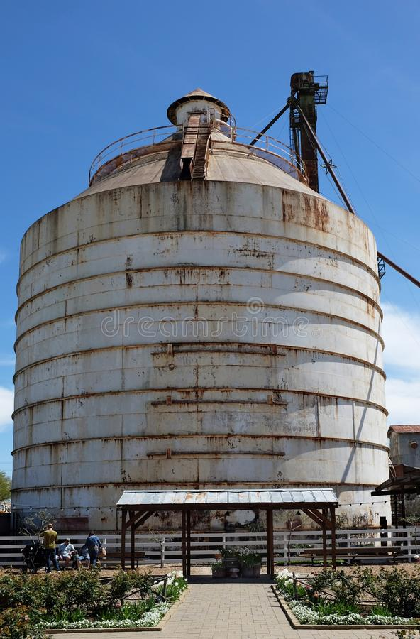 Silo at Magnolia Market Waco, Texas. WACO, TEXAS - MARCH 19, 2018: Silo seen from the Seed Shed at Magnolia Market . The shop is owned by Chip and Joanna Ggaines royalty free stock photos