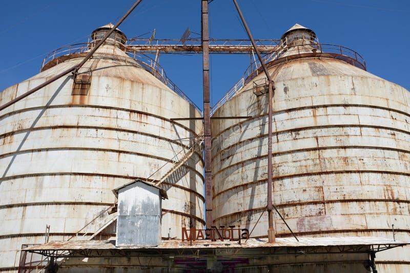 Silo's bij Magnoliamarkt Waco, Texas stock afbeeldingen
