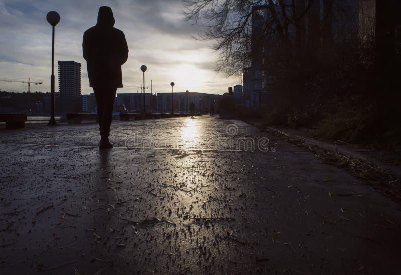 Silohouette dell'uomo che cammina su una via umida un il giorno triste in autunno/inverno tardi, immagine stock libera da diritti