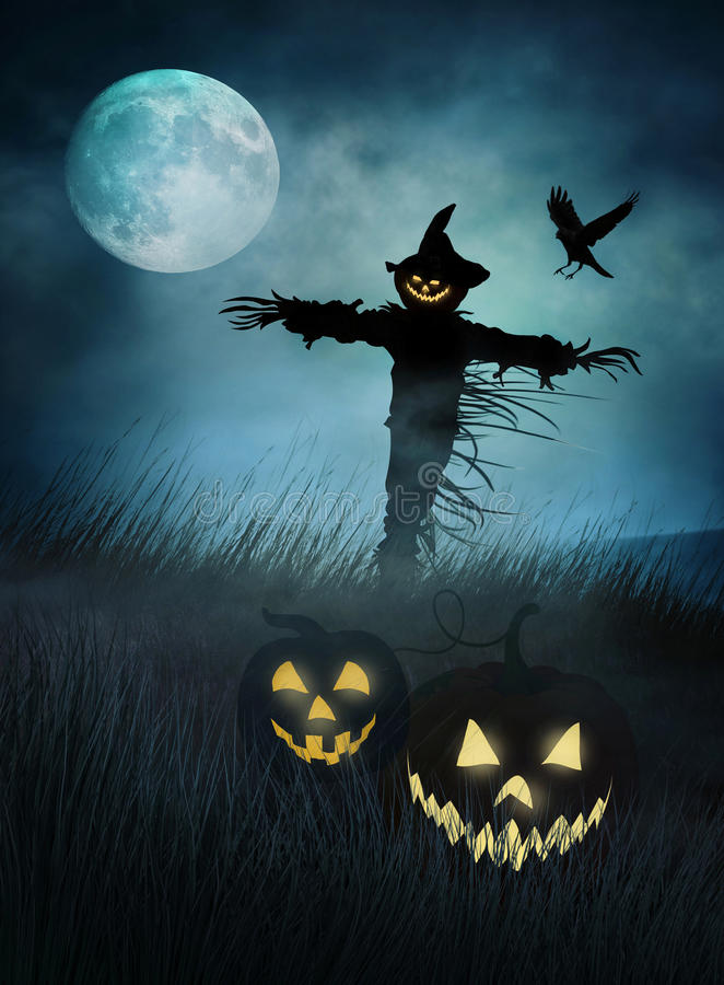 Silohouette of a scarecrow in fields of grass at night vector illustration