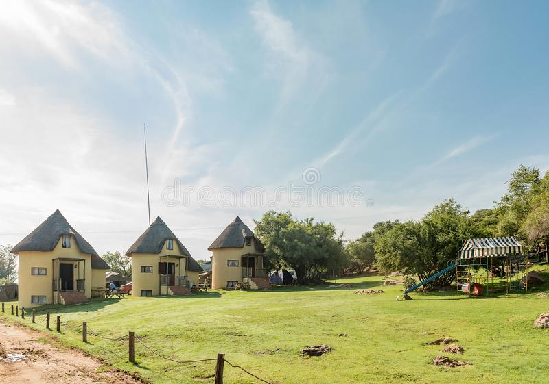 Silos converted lnto chalets at Korannaberg Adventures near Exce. EXCELSIOR, SOUTH AFRICA, FEBRUARY 9, 2018: Silos converted lnto chalets at Korannaberg stock image
