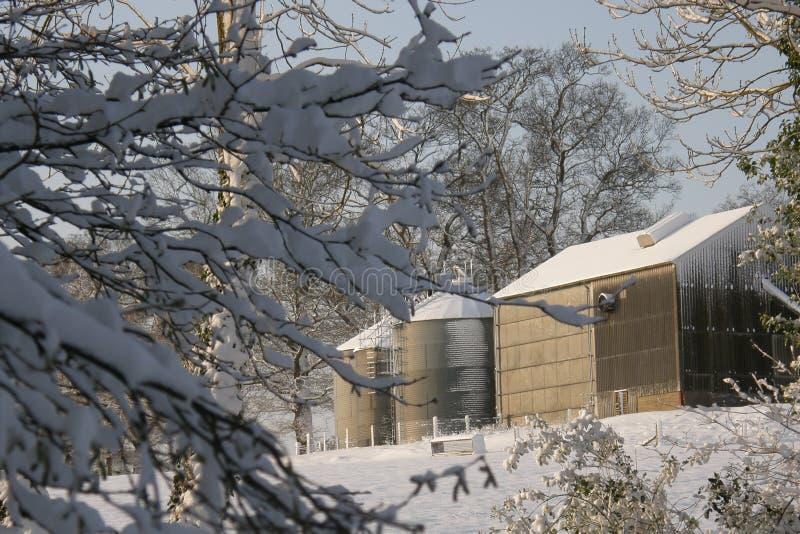 Silos de grão na neve fotos de stock