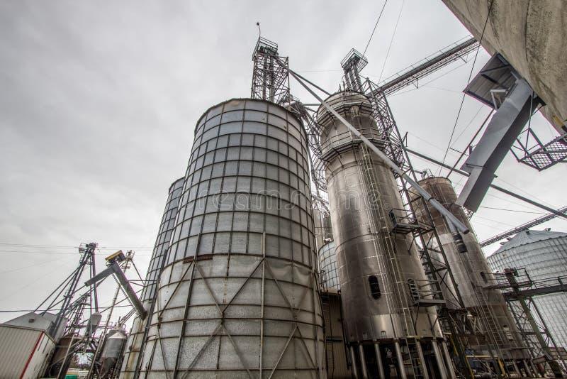 Silos de grain massifs dans l'Américain Midwest photo libre de droits