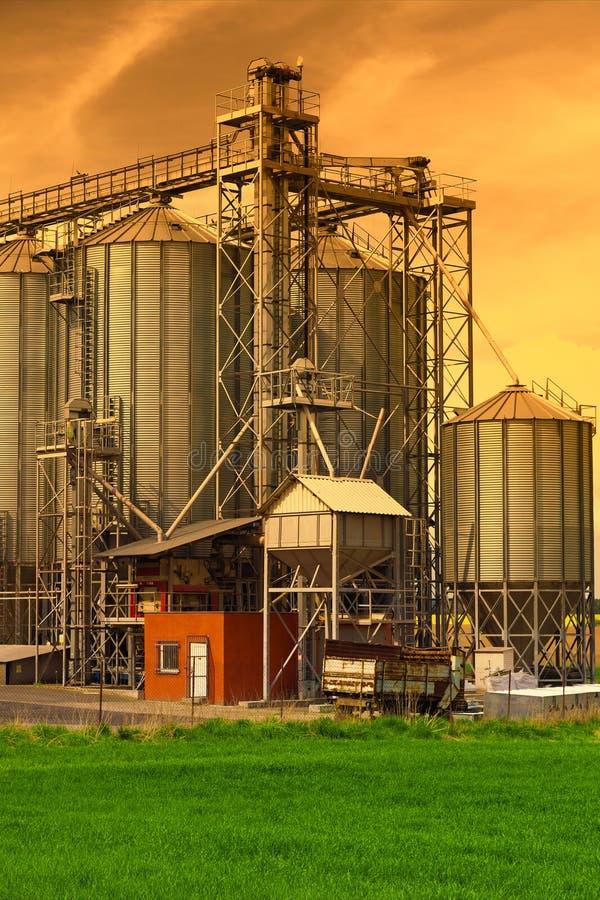 Silos industriais, céu do por do sol imagem de stock