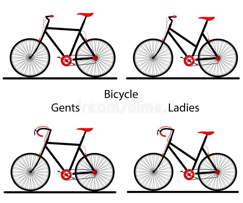 Silouette de bicyclette de dames et de monsieurs illustration de vecteur